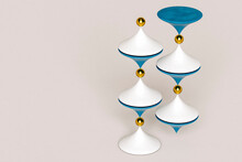 Abstract Composition With White And Blue Cones And Golden Spheres On Grey Background