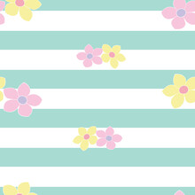 Green And White Stripe With Floral Vector Pattern