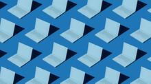 Laptop Pattern In Blue Tones