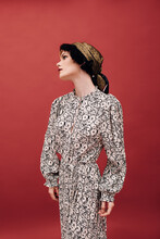Retro Woman Art Nouveau Style Fashion