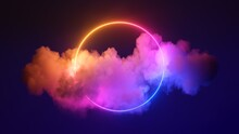 3d Render, Abstract Cloud Illuminated With Neon Light Ring On Dark Night Sky. Glowing Geometric Shape, Round Frame
