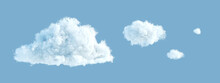 3d Render, Abstract Cloud Shapes Isolated On Blue Background, Cumulus Clip Art