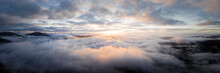 Aerial Above A Cloud Inversion At Sunrise Lake District