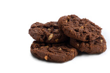 Close-up Of Sweet Chocolate And Peanut Cookies