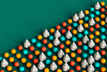 Colorful Spheres And Cones On Green Background - 3D Render