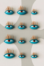 Abstract Eyes On Grey Background - 3D Image