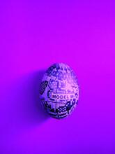 Custom Made Easter Egg On Violet Background