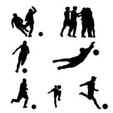 Siluetas De Futbolistas Con El Balón , Del Portero Y Celebración De Un Gol.