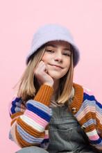 Teenage Girl Dressed 90s Style In Studio