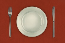 Illustration Of Cutlery On Red Background
