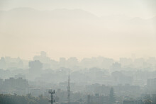 View Of Santiago Chile With Pollution And Smog. Contamination Problem.