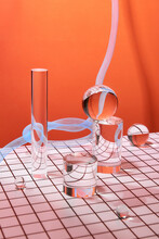Light, Shadow, Reflection And Color Effects In Glass Objects Located In A Table