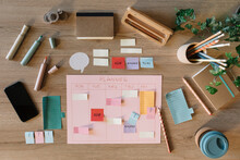 Layout Of Planner And Office Supplies From Above