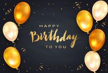 Golden Birthday Gifts On Black Background