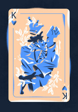 Playing Heart Card Of Cunning King Catches The Crown