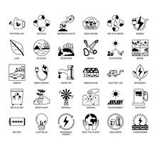 Set Of Ecology Thin Line And Pixel Perfect Icons For Any Web And App Project.