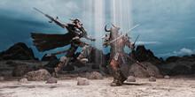Fantasy Warriors Battling In Barren Landscape