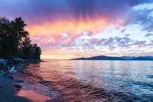 Stunning Sunset By Ocean Shore