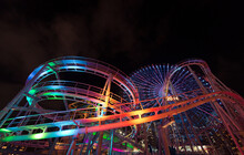 Colorful Theme Park At Night
