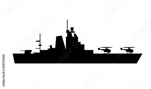 Fotografering Single of silhouettes of warships for design and