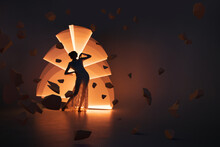 Silhouette Of A Woman On Light Painting
