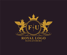 Initial FU Letter Lion Royal Luxury Heraldic,Crest Logo Template In Vector Art For Restaurant, Royalty, Boutique, Cafe, Hotel, Heraldic, Jewelry, Fashion And Other Vector Illustration.