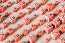 Pink Birthday Cake And Presents On Grey Background
