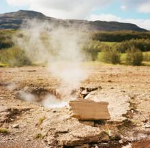 Litli Geysir Signpost In Iceland