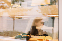 Woman Reflection In Shop Window Store