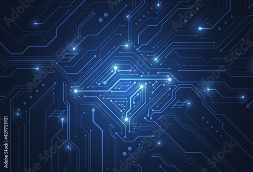 Fotografiet Abstract digital background with technology circuit board texture