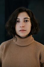 Girl Sweater Portrait Looking At The Camera Long Dark Hair Gold Makeup