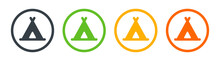 Indian Teepee, Tipi Tent Icons Collection. Vector Illustration.