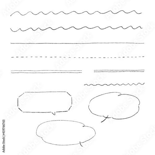 Fotografia 鉛筆で書いたシンプルな罫線と吹き出しのセット