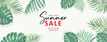 Summer Sale Banner Design With Tropical Leaves Background