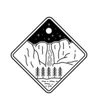Design For Yosemite's Waterfall National Park In Line Art Style, Badge Design, T-shirt Art, Tee Design