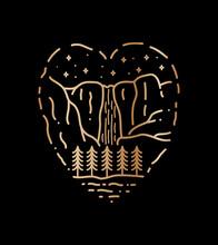 Design For Yosemite Falls National Park In Line Art Style, In Love Shape, Badge Design, T-shirt Art, Tee Design