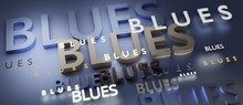 Abstract BLUES 3D TEXT Rendered Poster (3D Artwork)