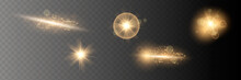 Set. Shining Star, The Sun Particles And Sparks With A Highlight Effect, Golden Bokeh Lights Glitter And Sequins. On A Dark Background Transparent. Vector,
