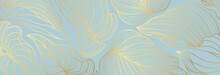 Luxury Floral Pattern With Gold Leaves On A Pastel Blue Background. Vector Illustration With Plant Elements In Line Art Style For Covers, Advertisements, Wedding Invitations, Cards, Wallpapers