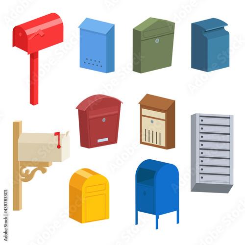 Obraz na plátně Different vintage and modern postboxes vector illustrations set