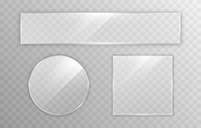 Set Of Vector Glass. Transparency Effect, Window, Mirror. Reflection, Glare. PNG Glass. PNG Window. Glass Frame, Glass Surface.