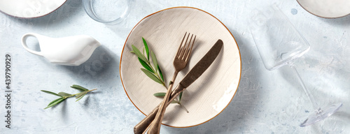 Canvastavla Modern tableware panorama, shot from above with olive branches