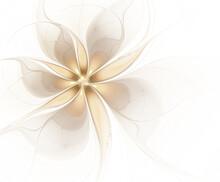 Abstract Fractal Pale Beige Flower On Light Background