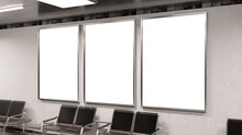 Three Vertical Billboards On Underground Wall Mockup. Hoardings Advertising Triptych On Train Station Interior 3D Rendering