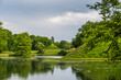 canvas print picture - Park Branitz, Cottbus, Germany, with step pyramid in early summer. Built by landscape architect Hermann Fuerst von Pueckler-Muskau.