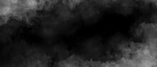 Gray Smoke On Black Color Abstract Watercolor Background