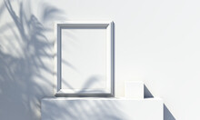 Picture Frame On The Wall And A Falling Shadow From A Tree On It. 3d Rendering