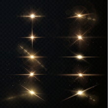 Light Rays Of Light Horizontal Golden Color With Glare And Flashes Isolated On A Transparent Background. Festive Set Light Laser Abstract. Celebratory Gold-colored Light Star With Glare.