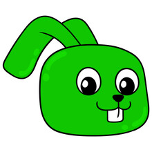 Green Rabbit Head Smiling Happily, Doodle Icon Drawing