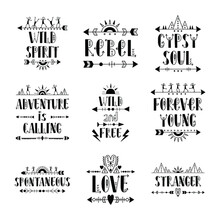 Set Of Vector Illustrations, Hand Drawn Lettering With Element Of Decorated Arrows, Dancing Men, Tent - Authentic Indigenous Style - Ethnic Hipster Boho Design - Isolated Black On White